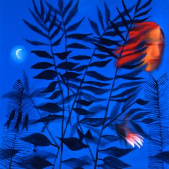 Charles Blackman, Sunday in the Moonlight 1990, synthetic polymer on canvas, 119.5 x 109 cm, Heide Museum of Modern Art, Gift of Charles Blackman 1990