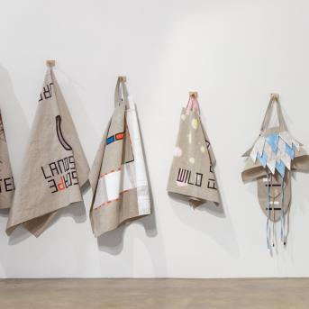 Sarah crowEST, Installation view, From the Collection 3, Benalla Art Gallery 2015, linen, acrylic paint, © the artist, Photograph: Christo Crocker