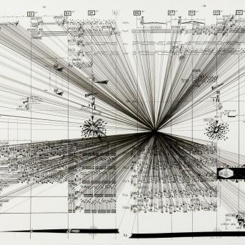 Marco Fusinato, Mass Black Implosion (Enantiodromia, Jani Christou) 2007, pen and ink on archival fascimile of musical score, 42 x 56.5 cm, Courtesy of the artist and Sarah Cottier Gallery, Sydney