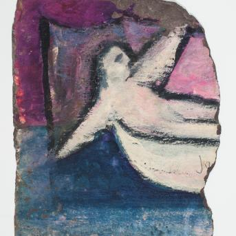 Sidney Nolan, (Figure in boat) January 1942, enamel on slate, 22 x 26.5 cm, Heide Museum of Modern Art, Melbourne, Bequest of Barrett Reid 2000