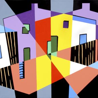 Robert Rooney, After Colonial Cubism 1993, synthetic polymer paint on canvas, 122 x 198.3 cm, Heide Museum of Modern Art, Purchased through the Heide Foundation with the assistance of the Heide Foundation Collectors' Group and the Robert Salzer Fund 2008. Courtesy of the artist