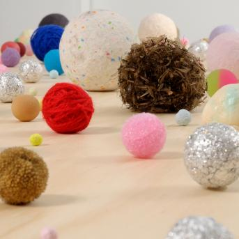 Charlie Sofo, Balls 2010, found objects, paper, wool, electrical tape, foil, wood, stone, Heide Museum of Modern Art, Courtesy of the artist and Darren Knight Gallery, Sydney,  Photograph: John Brash 2010, © the artist