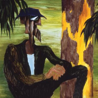 Albert Tucker, Intruder Resting 1965-66, synthetic polymer on composition board, 131 x 161.5 cm, Heide Museum of Modern Art, On loan from the Estate of Barbara Tucker, © Estate of Babara Tucker