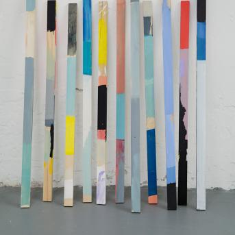 Antonia Sellbach, Stick Work #1 2015, synthetic polymer paint and gesso on pine, installation dimensions variable,  Photograph: Clare Rae