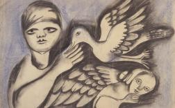 Mirka Mora, The Painting 1961, charcoal and coloured chalks on paper, 51 x 63.5 cm, Heide Museum of Modern Art, Bequest of John and Sunday Reed 1982, © the artist