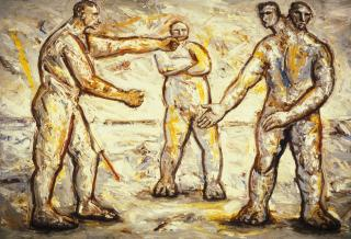 Peter Booth, Painting 1986, oil on canvas, 167 x 244 cm, Heide Museum of Modern Art, Purchased from Powell Street Gallery 1987,  Courtesy of the artist