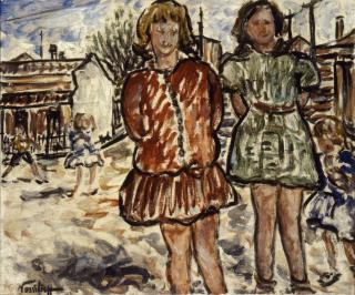 Danila Vassilieff, Valerie and Betty 1937, oil on plywood, 44.9 x 53.5 cm, Heide Museum of Modern Art, Purchased from John and Sunday Reed 1980