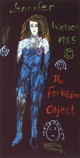 Jenny Watson, The Forbidden Object 1985, oil, gouache and mixed media on velvet, 209 x 107.5 cm, Heide Museum of Modern Art, The Baillieu Myer Collection of the 80s, Courtesy of the artist